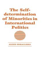 The Self determination of Minorities in International Politics PDF