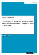 Anglizismen in deutschen Werbeanzeigen und Gesch  ftsberichten   Designed to make a difference  PDF