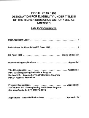 Request for Designation as an Eligible Institution Under Title III