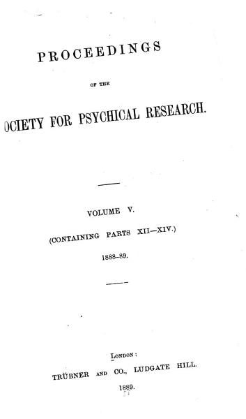 Download Proceedings of the Society for Psychical Research Book
