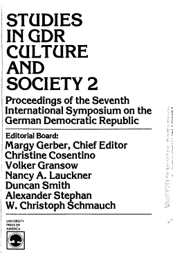 Studies in GDR Culture and Society 2 PDF