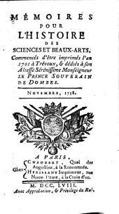 Memoires pour l'histoire des sciences et des beaux arts ...: Volume6
