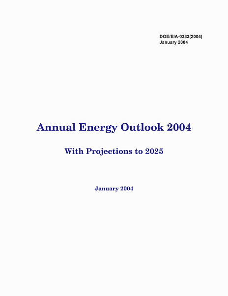 Annual Energy Outlook 2003 With Projections To 2025