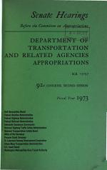 Department of Transportation and Related Agencies Appropriations for Fiscal Year 1973