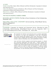 Educating for active citizenship: service-learning, school-based service, and youth civic engagement