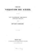 Über den Volksstamm der Achæer: Volume 3