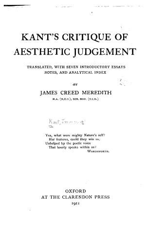 Kant s Critique of Aesthetic Judgement PDF