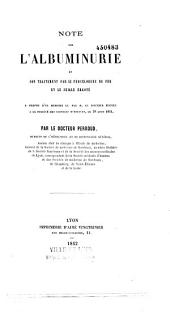 Note sur l'albuminurie et son traitement