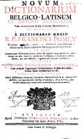 Novum dictionarium Belgico Latinum ex optimis authorum PDF