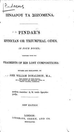 Pindar s Epinician Or Triumphal Odes PDF