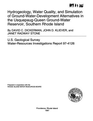 Hydrogeology, Water Quality, and Simulation of Ground-water-development Alternatives in the Usquepaug-Queen Ground-water Reservoir, Southern Rhode Island
