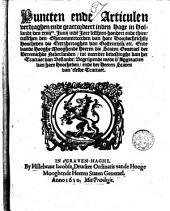 Puncten ende articulen verdraghen ende geaccordeert inden Hage in Hollandt, den 24 junij inde jare 1610 tusschen den Ghecommiteerden van [...] die Eertzhertoghen van Oostenrijck etc., ende vande [...] Staten Generael der Vereenichde Nederlanden, tot meerder bevestinghe van het Tractaet van Bestandt