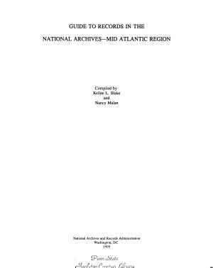 Guide to Records in the National Archives--Mid Atlantic Region