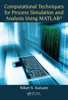 Computational Techniques for Process Simulation and Analysis Using MATLAB   PDF