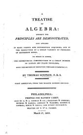 A Treatise of Algebra. First American, from the eighth London edition. MS. note