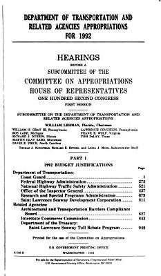 Department of Transportation and Related Agencies Appropriations for 1992 PDF