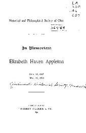 In Memoriam, Elizabeth Haven Appleton, Oct. 16, 1815, Nov. 15, 1890