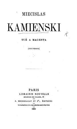 M  Kamienski  tu      Magenta  souvenir   Posthumous essays  letters  etc   by M  K   PDF