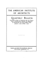 Quarterly Bulletin Containing an Index of Literature from the Publications of Architectural Societies and Periodicals on Architecture and Allied Subjects: Volume 11