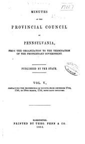Colonial Records of Pennsylvania: Volume 5; Volume 1851