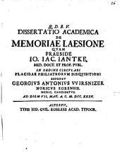Dissertatio academica de memoriae laesione