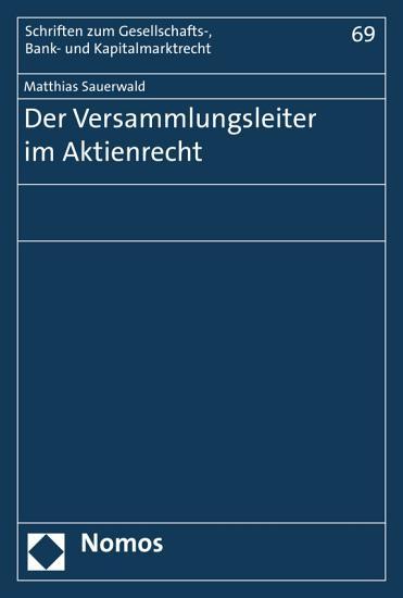 Der Versammlungsleiter im Aktienrecht PDF