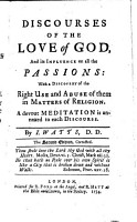 Discourses of the Love of God  and Its Influence on All the Passions PDF