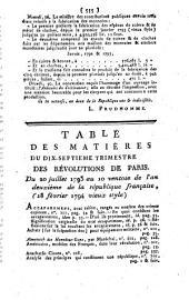Révolutions De Paris, Dédiées A La Nation: Dix-Septiéme Trimestre. Avec gravures et cartes des départemens de France, Volume17