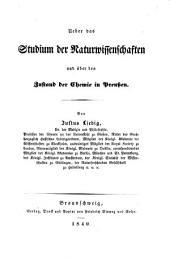 Ueber das Studium der Naturwissenschaften und über den Zustand der Chemie in Preußen