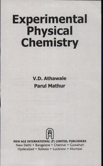 Experimental Physical Chemistry PDF