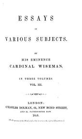 Essays on Various Subjects: Volume 3