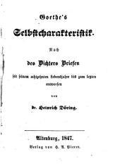 Goethe's Selbstcharakteristik