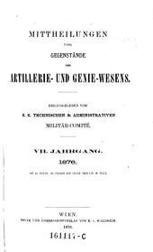 Mittheilungen über Gegenstände des Artillerie- und Genie-Wesens