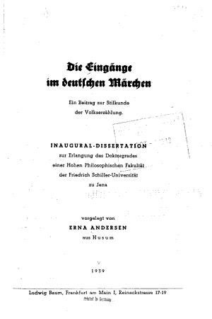 Die Eing  nge im deutschen M  rchen PDF