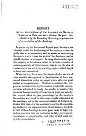 Report of the Transactions of the Academy of Natural Sciences of Philadelphia, During the Year 1824