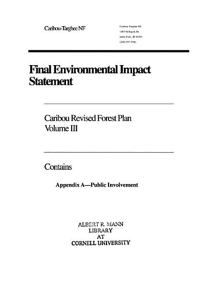 Final Environmental Impact Statement for the Caribou National Forest  Appendix A  Public involvement PDF