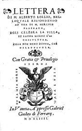 Lettera di m. Alberto Lollio, nellaquale [!] rispondendo ad una di m. Hercole Perinato, egli celebra la villa, et lauda molto l'agricultura, ..