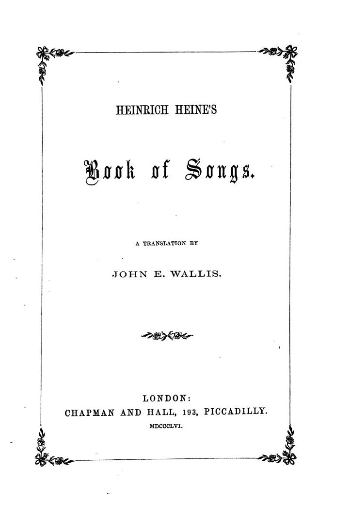 Heinrich Heine's Book of Songs