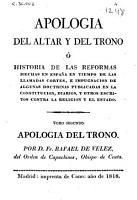 Apologia del altar y del trono PDF