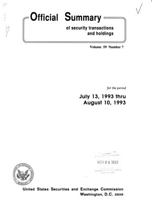 Official Summary of Security Transactions and Holdings Reported to the Securities and Exchange Commission Under the Securities Exchange Act of 1934 and the Public Utility Holding Company Act of 1935 PDF