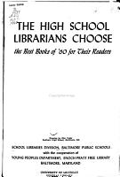 The High School Librarians Choose the Best Books for Their Readers PDF