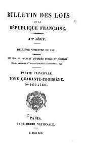 Bulletin des lois de la République française: Volume43