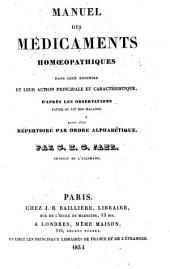 Manuel des médicaments homoeopathiques dans leur ensemble et leur action principale et caractéristique, d'après les observations faites au lit des malades