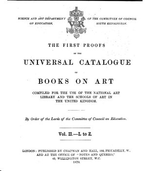 First Proofs of the Universal Catalogue of Books on Art PDF