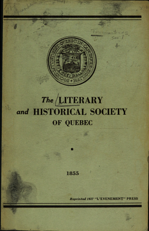 Transactions of the Literary and Historical Society of Quebec PDF