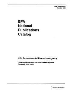 EPA National Publications Catalog PDF