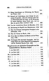Immanuel Kant's Sämmtliche Werke: Th. Schriften zur physischen Geographie
