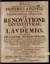 Diss. ... de renovatione investiturae et laudemio