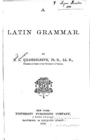 A Latin Grammar PDF