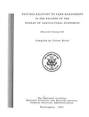 Writings Relevant to Farm Management in the Records of the Bureau of Agricultural Economics